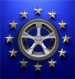 Rueda de coche entre estrellas de la CE